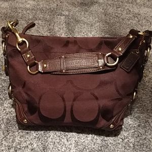 Authentic Coach monogram w brown leather